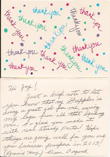 Here is a Thank You Card we received from a customer.